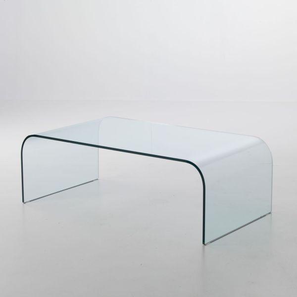 Tavolino rettangolare in vetro curvato Stefan Plus