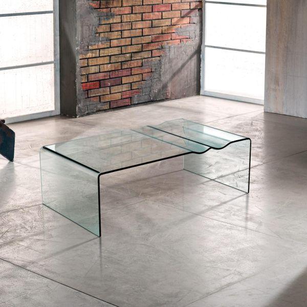 Tavolino in vetro curvato trasparente L110 Dunolly