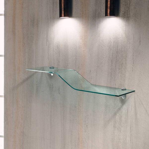 Coppia mensole in vetro curvato trasparente Boa