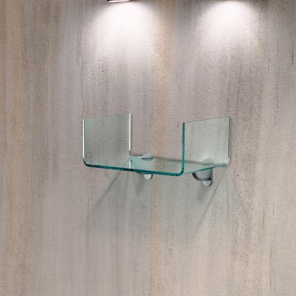 Coppia mensole in vetro curvato trasparente U2