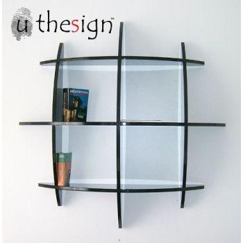 Libreria sferica Guidus ML da parete in legno MDF bianco o nero