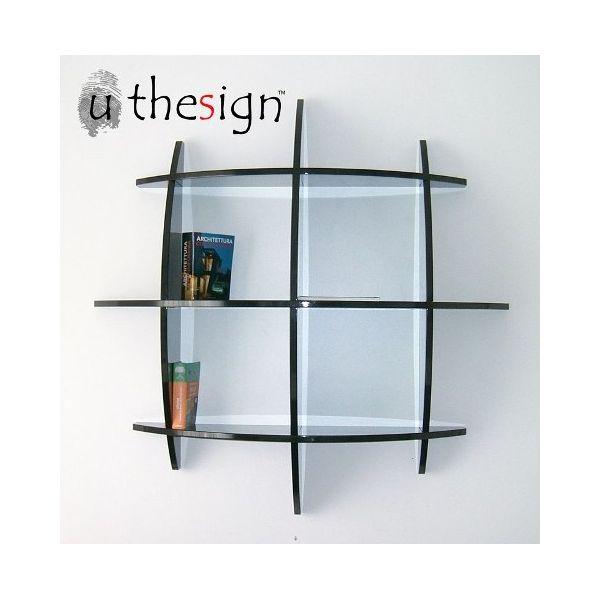 Libreria sferica da parete moderna in legno MDF bianco o nero Guidus ML