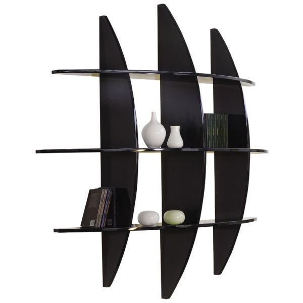 Libreria sferica guidus 170 ml in legno mdf bianco nero 170 cm for Librerie di design a parete