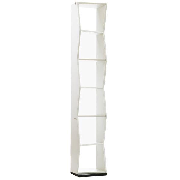 Libreria da terra a colonna in legno componibile design moderna librerie moderne mensole bianca nera