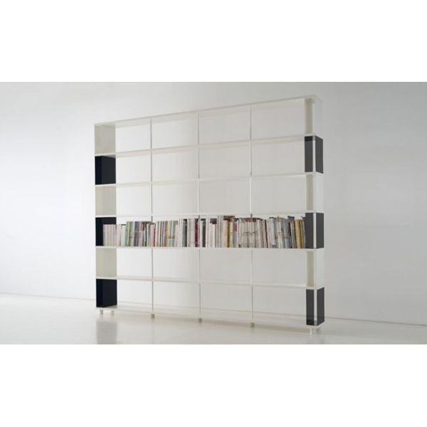 Scaffale moderno skacc6 bicolore in metallo e legno per for Ikea scaffali in metallo