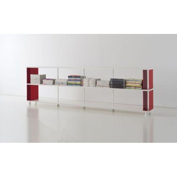 Scaffale modulare in legno e metallo per arredi uffici e negozi librerie moderne