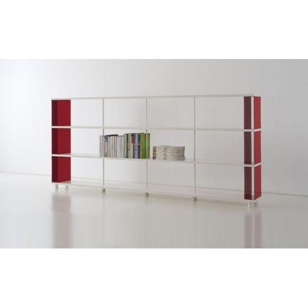 Scaffalatura componibile in legno e metallo per arredamento di uffici e negozi