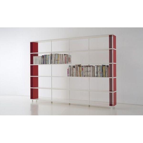 Libreria moderna scaffalatura metallica con mensole in legno