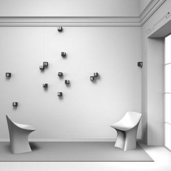 RND_Time orologio a cubetti sparsi a parete Nero o Bianco