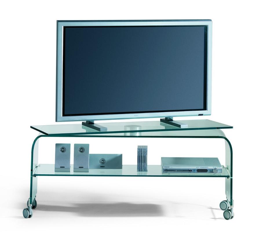 Mobile porta TV in vetro curvato Reflex su ruote