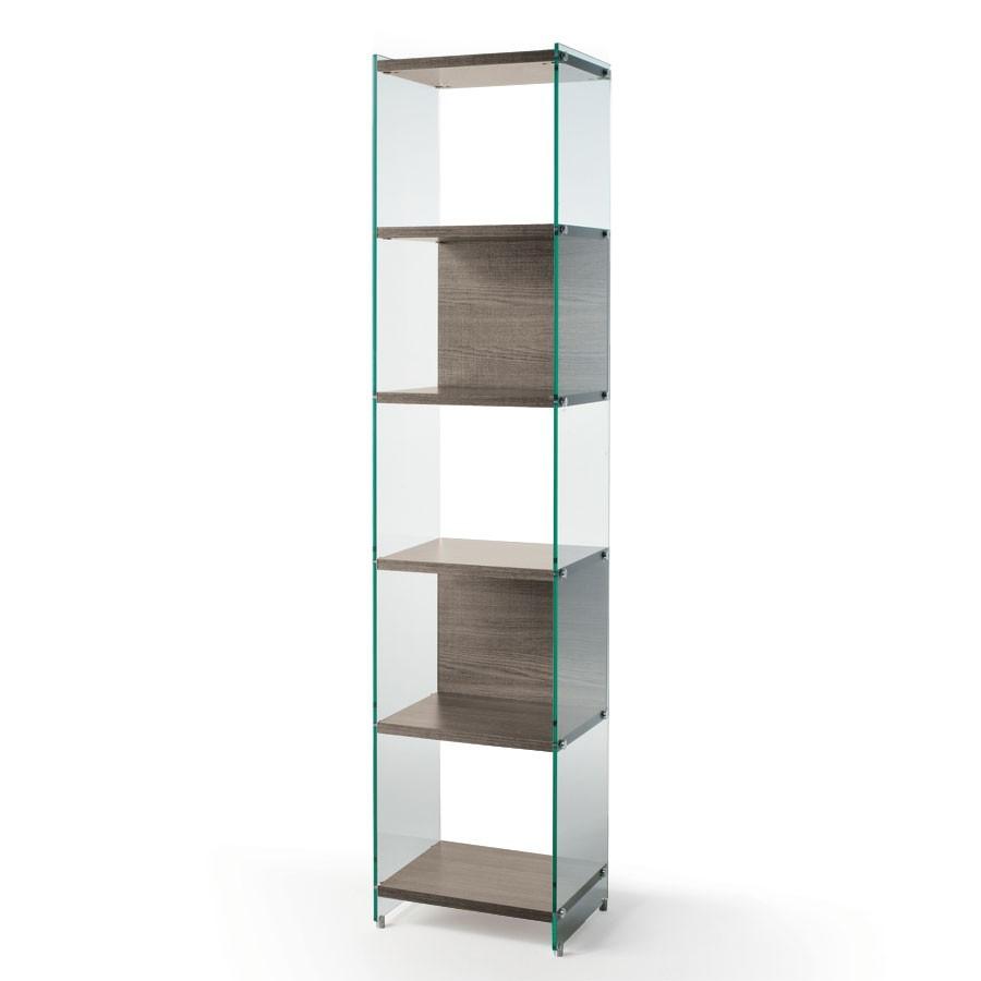 Libreria verticale in vetro e legno Byblos