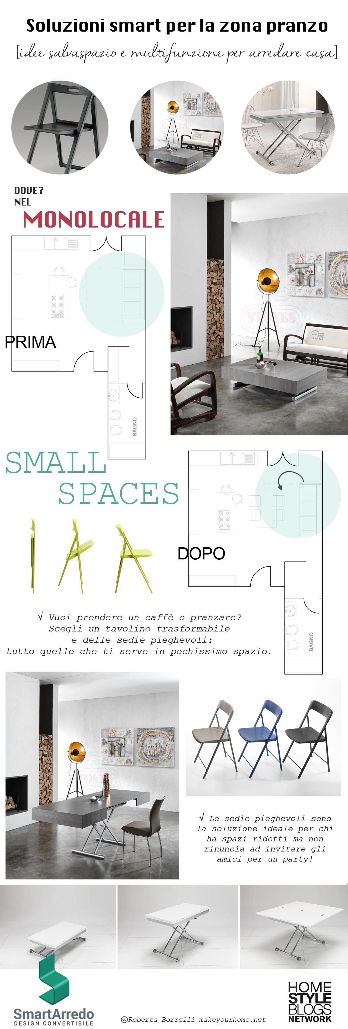 Sedie e tavolini pieghevoli - Arredare una casa piccola - Infografica