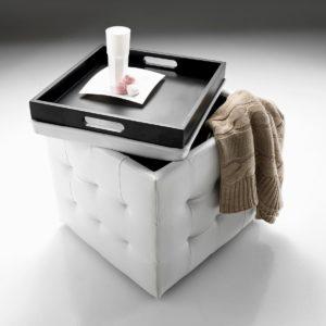 Pouff contenitore con vassoio Katrina | Mobili salvaspazio