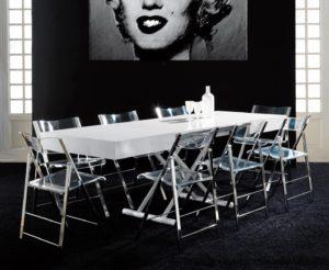 Tavolino trasformabile in tavolo da pranzo After colore bianco con sedie