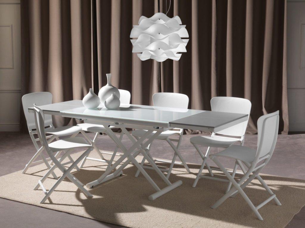 Tavolino che diventa tavolo da pranzo Sofast bianco allungato