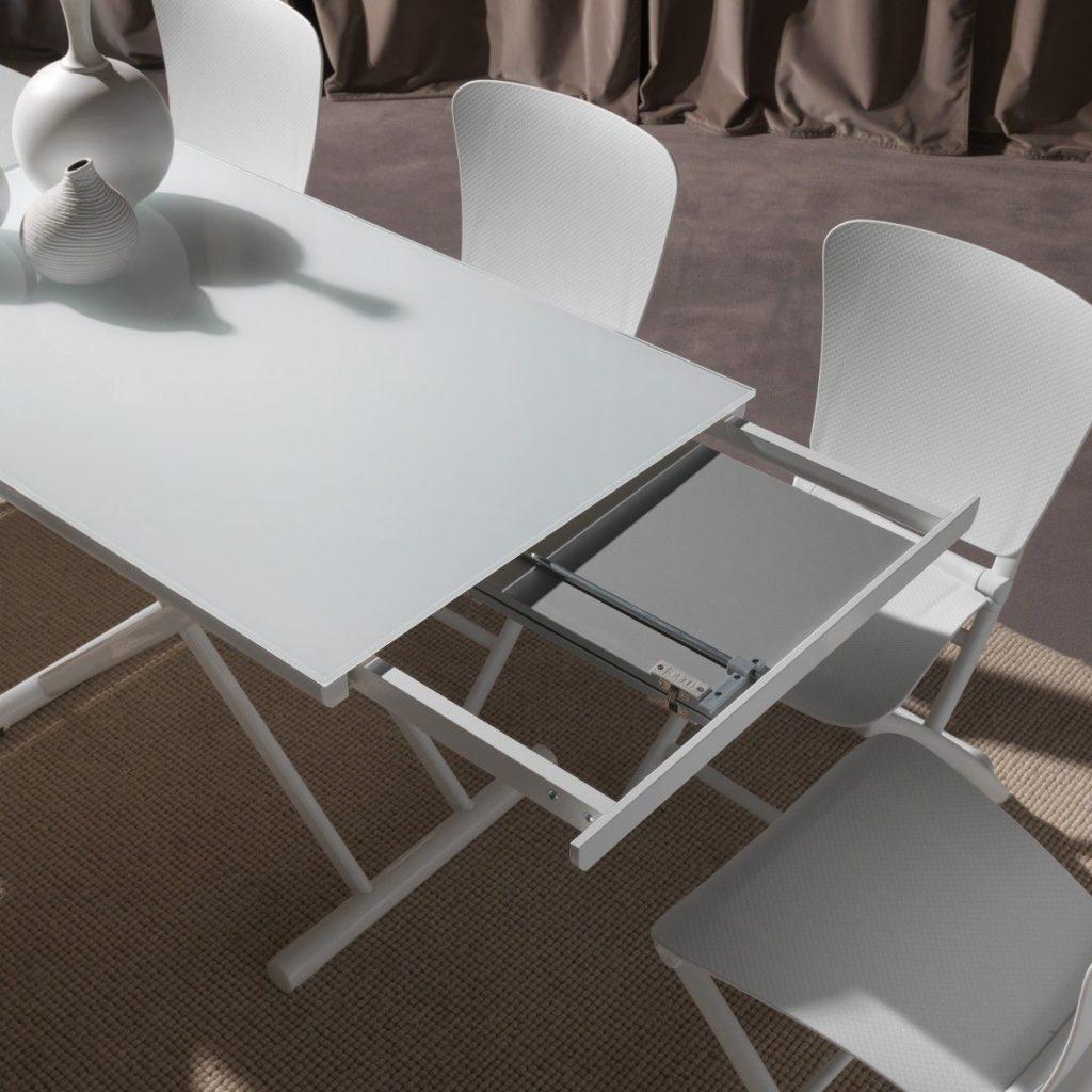 Tavolino che diventa tavolo da pranzo Sofast bianco dettaglio