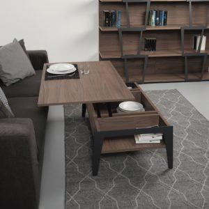 Tavolino design con piano alzabile e contenitore Brighton