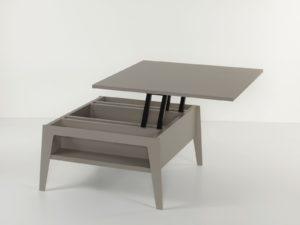 Tavolino soggiorno con piano alzabile e contenitore Brighton