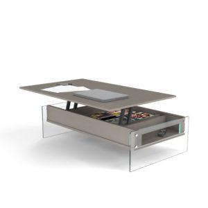 Tavolino contenitore con piano alzabile London