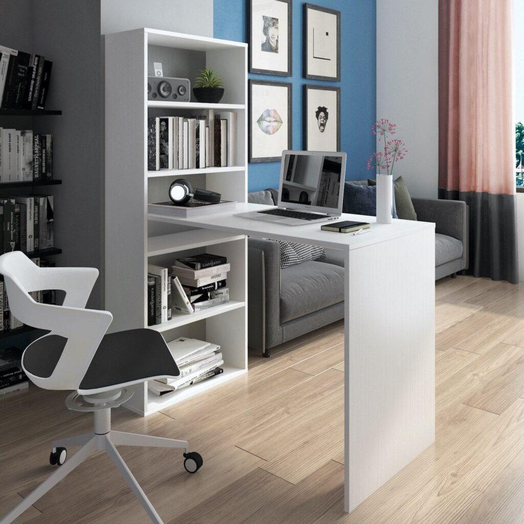 scrivania angolare con libreria Flix