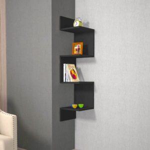 Mensola angolare in legno colore nero Twister