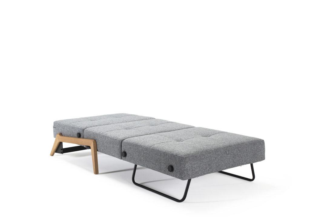 Cubed poltrona letto singolo gambe quercia grigio