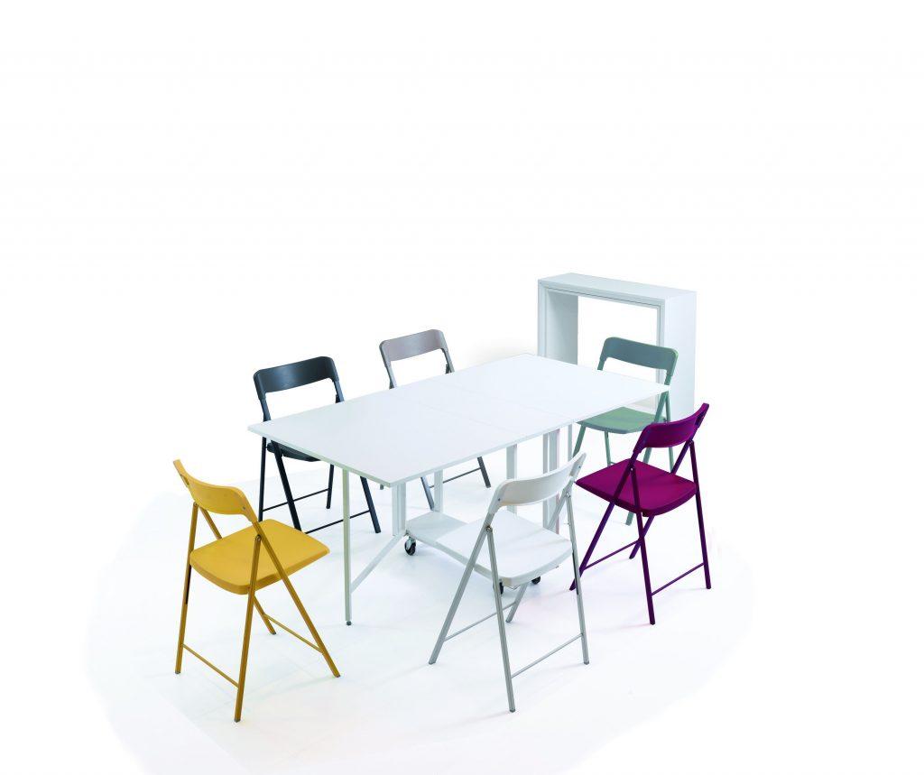 Tavolo consolle allungabile con sedie incorporate Archimede aperto bis