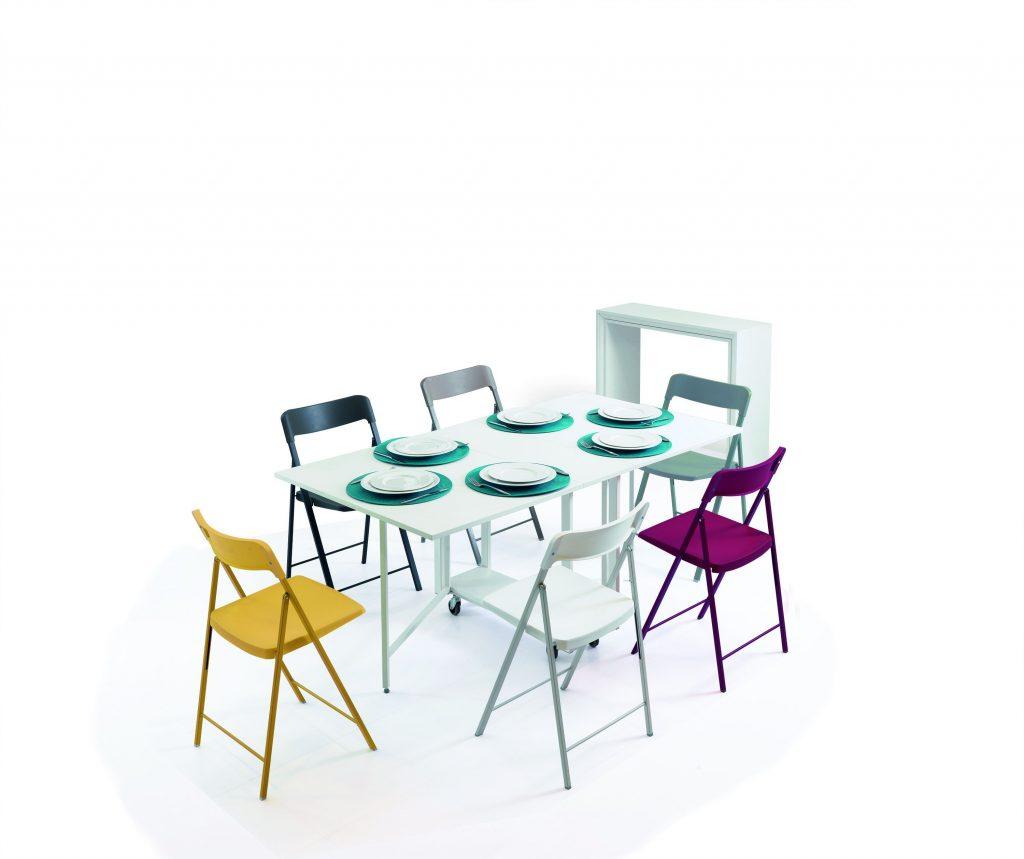 Tavolo consolle allungabile con sedie incorporate Archimede aperto
