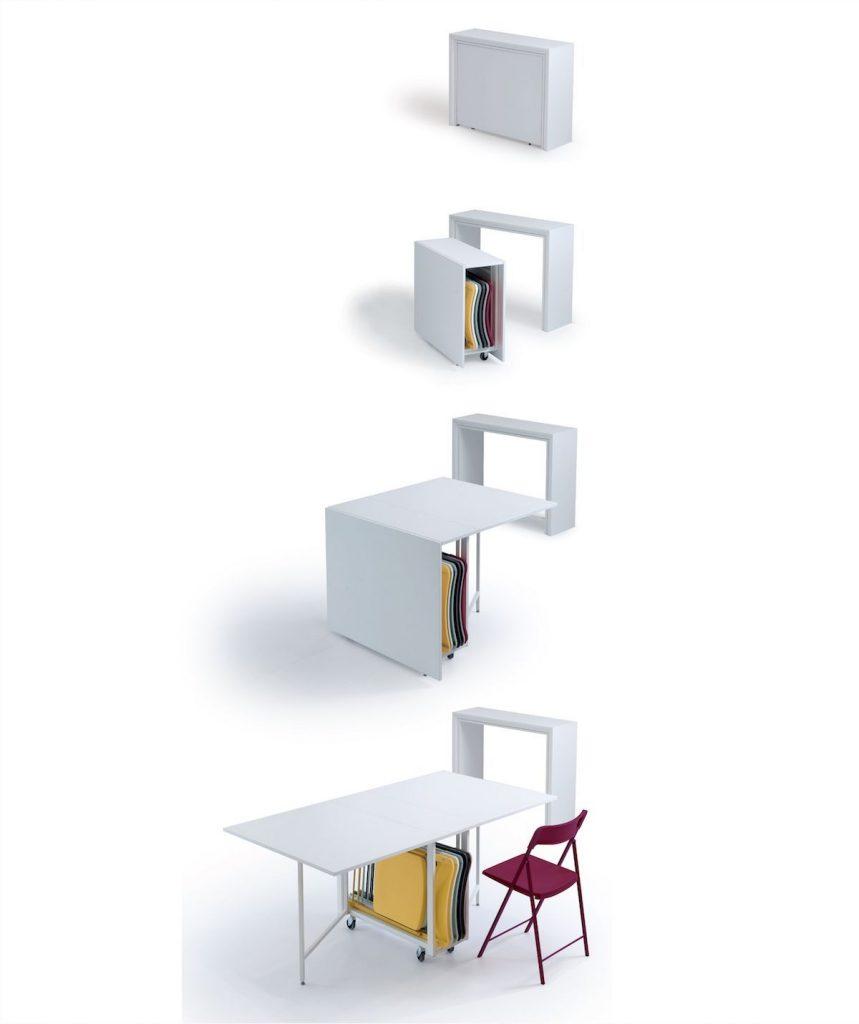 Tavolo consolle allungabile con sedie incorporate Archimede sequenza
