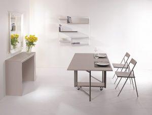Tavolo consolle allungabile con sedie incorporate Archimede