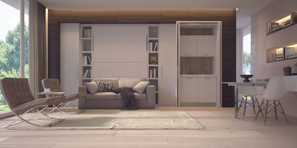 Letto a scomparsa con divano Cubo + cucina monoblocco