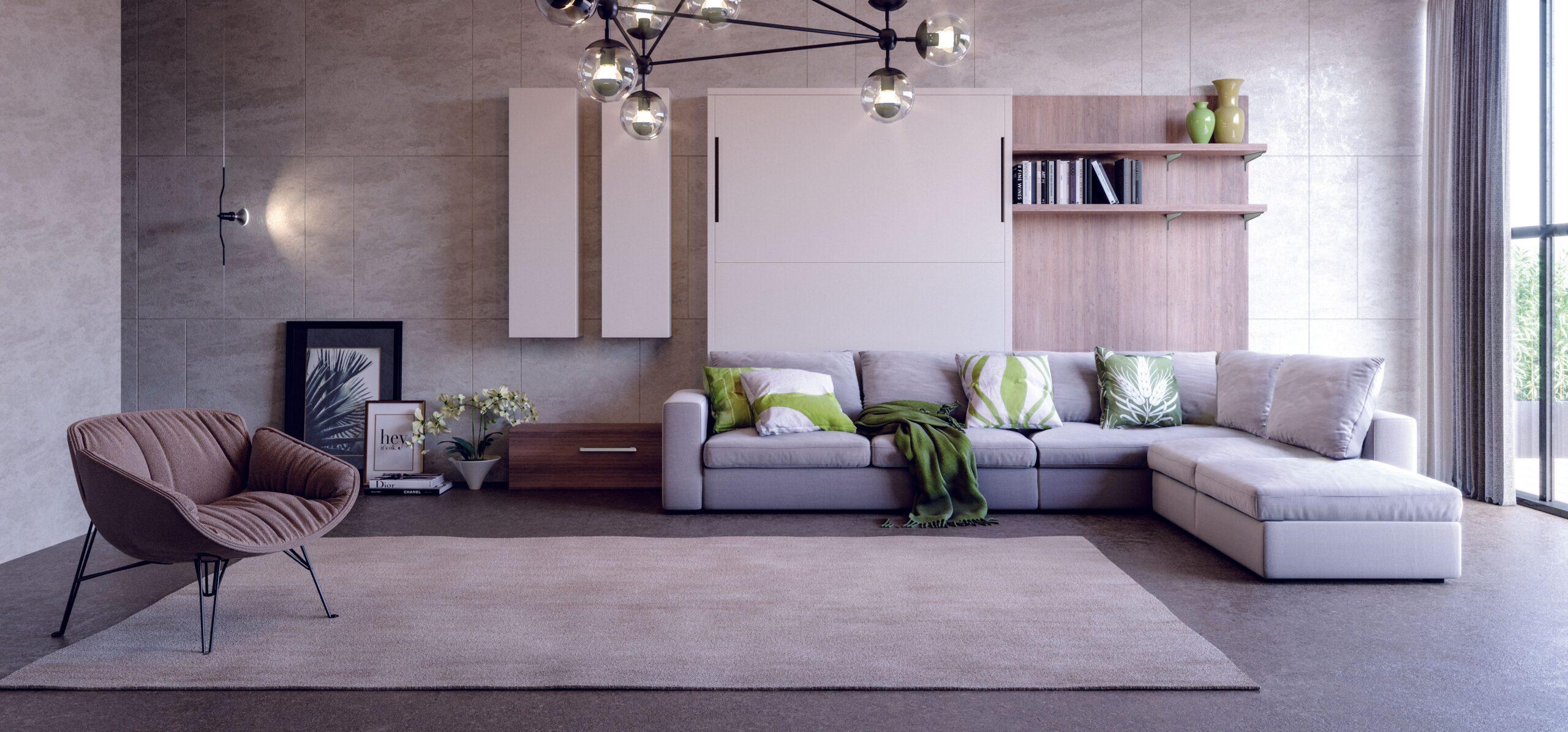 Letto a scomparsa con divano Cubo soggiorno
