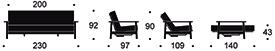 Dimensioni divano letto Balder