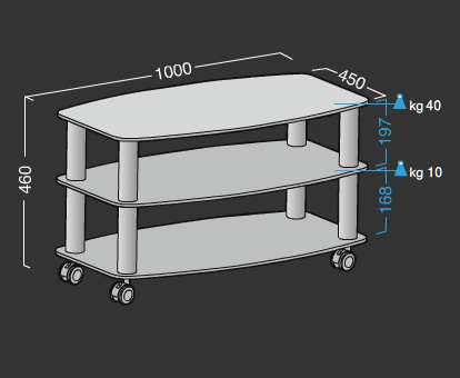 Frantic porta televisore design con ripiani in cristallo su ruote 100 cm ebay - Porta televisore in vetro ...