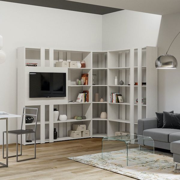 Librerie angolari e mensole design moderno per il soggiorno