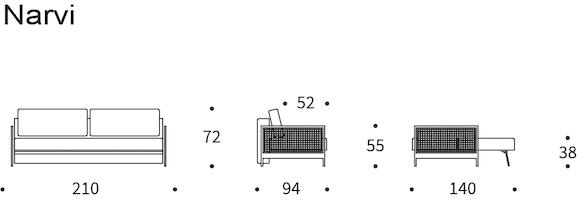 Dimensioni divano Narvi