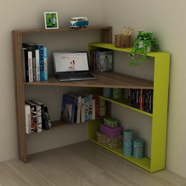 Scrivania con libreria angolare in legno Geometry