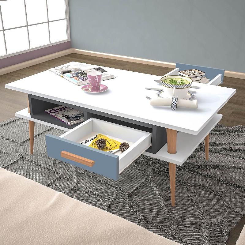 Tavolino da salotto con cassetto e ripiano Darius