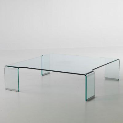 Tavolino quadrato da salotto in vetro 100 x 100 cm