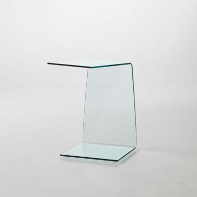 Tavolino lato divano in vetro curvo