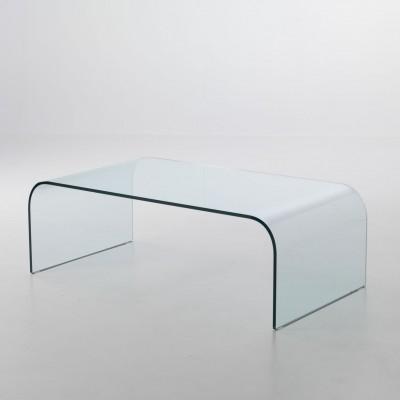 Tavolino rettangolare in vetro curvato Nashville