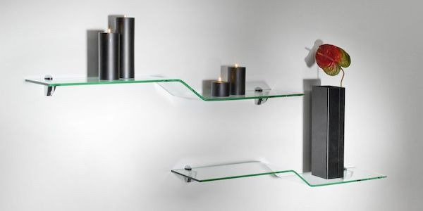 Set mensole moderne in vetro curvato Bolis Italia
